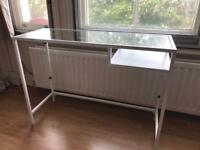 White glass laptop table