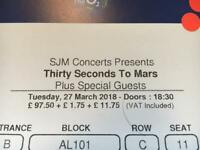30 second to Mars tickets 27th March O2 London
