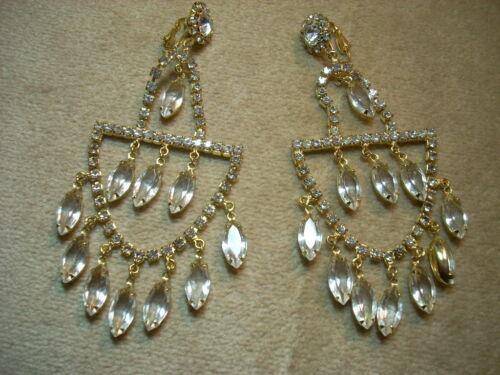 ANTIQUE VINTAGE Clear Crystal Rhinestone HUGE CHANDELIER Clip Earrings LOVELY