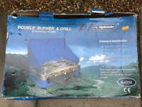 Camping stove with double burner and grill