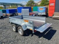BRAND NEW MODEL 7.7x4.2 DOUBLE AXLE TRAILER FLAT TIPPING FEATURE 750KG