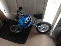 Balance bike with helmet