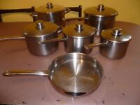 Stellar polished stainless steel pots and pans set