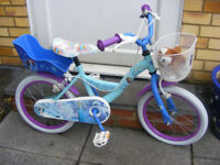 "GIRLS 16"" WHEEL FROZEN BIKE HARDLY USED IN GREAT WORKING ORDER AGE 5+"