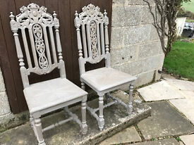 Pair of antique hall chairs - painted in Annie Sloan and distressed