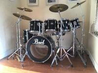 Complete Pearl Export Mega Rock Drum Kit With Cymbals and Stands Remo Heads Double Pedal