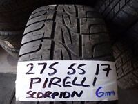 275 55 17 PIRELLI SCORPION tyre 6mm tread £40 SUPPLIED & FITTED