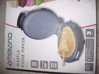 waffle cone maker in light blue. New, still in box