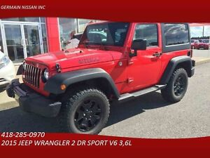 2015 JEEP WRANGLER 2 DR SPORT WILLYS-CRUISE-BLUETOOTH TAUX D'INT