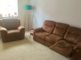 DFS electric recliner - 3 seater sofa and armchair - chocolate brown