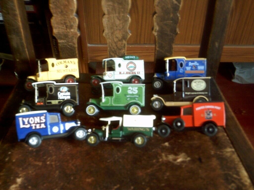 small collection of yesteryear model vans.