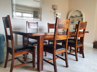 Dining Table/EIGHT Chairs/Custom Made Toughened Safety Glass Top