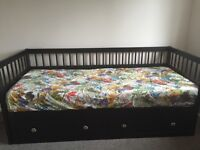 IKEA Hemnes 2 drawer day bed (dark brown) for sale - including 2 x mattresses