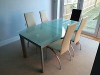 Modern glass and steel 6 piece dining table