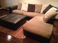 2 year old beautiful couch and ottoman