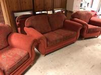 Three piece suite terracotta fabric