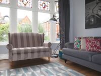 Mink Striped NEXT 'Sherlock' Wingback 2 Seater Sofa With Stud Detailing