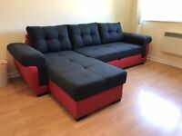 CORNER SOFA BED BLACK and RED
