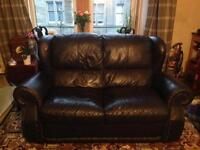 Navy blue leather sofa - free to uplift