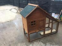 Double tier rabbit hutch and accessories