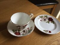 BONE CHINA ROYAL STUART TEA CUPS SAUCERS PLATES