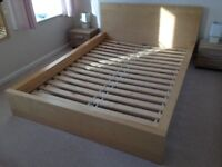 Solid light wood IKEA double bed
