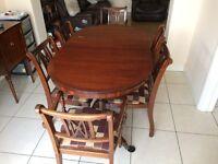 Mahogany table and matching 6 chairs