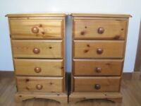 2x Pine wood Bed side tables/cabinets with 4 drawers