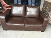 BROWN FAUX LEATHER 2 SEATER SOFA,CAN DELIVER