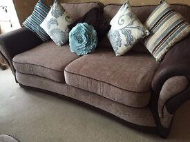 2 x Matching 3-Seater Sofas and puffe. Excellent condition