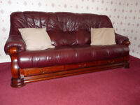 Leather 3 piece suite, oxblood leather & oak frame, very good condition