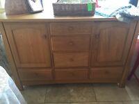 Modern oak sideboard , solid piece in good condition