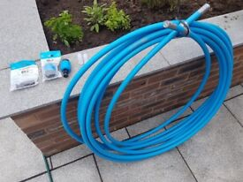 25mm MDPE Blue Mains water pipe (22+ metres) inc. 2 x JG Speedfit end stop caps and pipe inserts