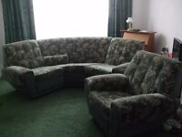 SOLD - Green Curved settee and armchair
