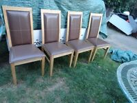 4 x leather and wood dining chairs