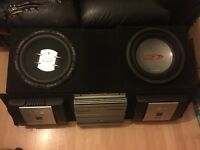 "2 12"" alpine r type subs& 2 alpine v12 amp"