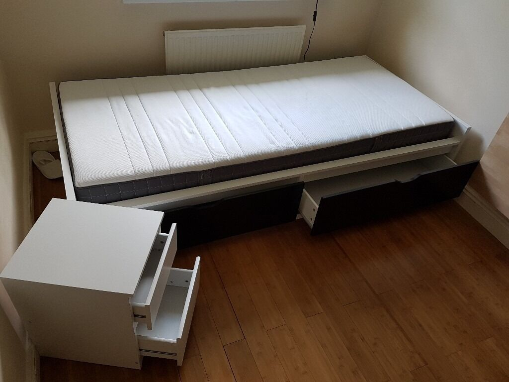 Ikea single bed white flaxa mattress morgedal storage for Single bed with drawers and mattress