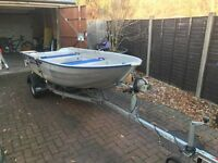 Linder 355 Sportsman with Snipe Trailer and NEW Mariner 8HP Outboard
