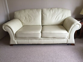 2- and 3-seater ivory cream leather sofas for sale