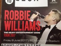 2 Standing Robbie Williams Concert Tickets, Fri 9th June at Murrayfield. Face Val. Support Erasure