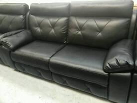 Black endurance leather 3+1+1 seater sofas