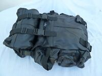 Black leather motorcycle seat pannier bags
