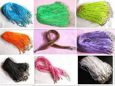 Various Ribbon Necklace Cords Colour Alloy Clasp 45cm + 5cm Wholesale Lot/Bulk