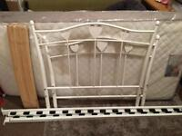 Child's white metal single bed frame and brand new mattress
