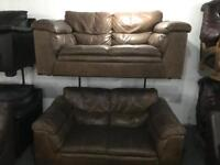 2 tan leather full leather Hyde 2 seater sofas