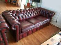 Oxblood Leather Chesterfield Three Piece Suite - Sofa + 2 Chairs