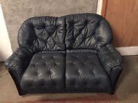 Blue Leather Sofa ID 34/12/16