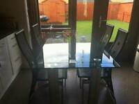 Glass diner table for 4 with chairs