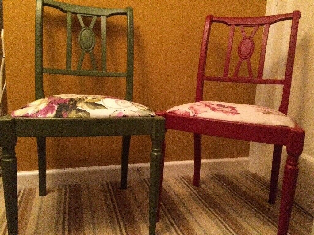 Red and green shabby chic chairs
