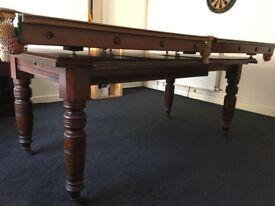VICTORIAN ANTIQUE MAHOGANY SNOOKER & DINING TABLES SEATS 8-10 CIRCA 1860-1880